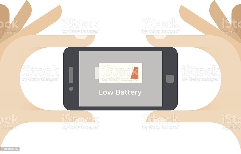 Mobile phone with low battery level vector art illustration