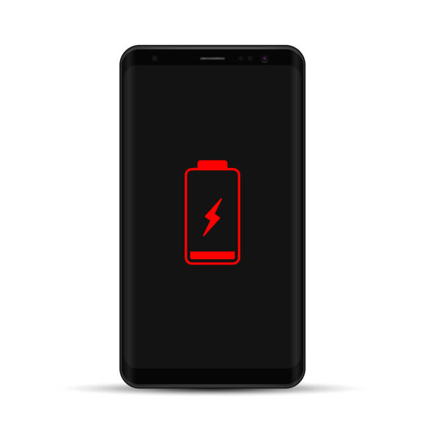 Mobile Phone With Low Battery Sign On Screen. Vector isolated realistic illustration Mobile Phone With Low Battery Sign On Screen. Vector isolated realistic illustration. low stock illustrations