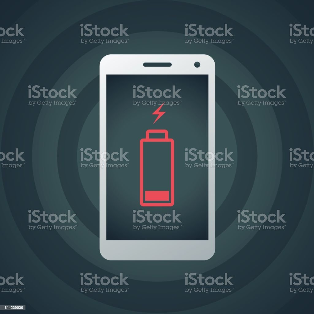 Mobile phone with low battery vector art illustration