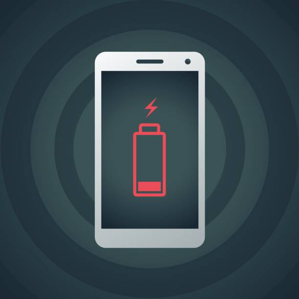 Mobile phone with low battery Vector of mobile phone with low battery background. EPS Ai 10 file format. cell phone charger stock illustrations
