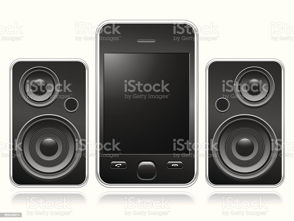 Mobile phone with portable speakers royalty-free mobile phone with portable speakers stock vector art & more images of audio equipment