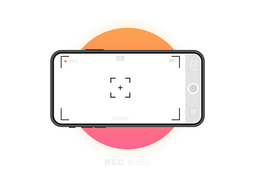 Mobile phone with record frame camera. Viewfinder template. 4K phone resolution video rec frame. Video recording screen. Vector graphic design