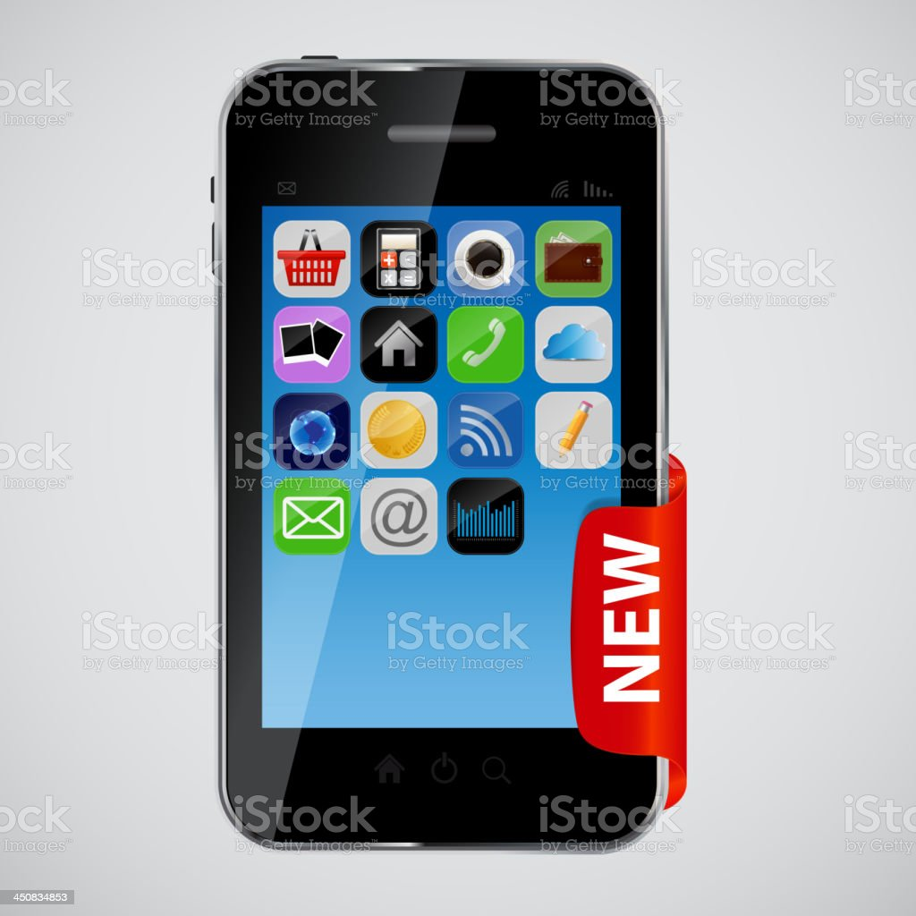 mobile phone with red label vector illustration royalty-free stock vector art
