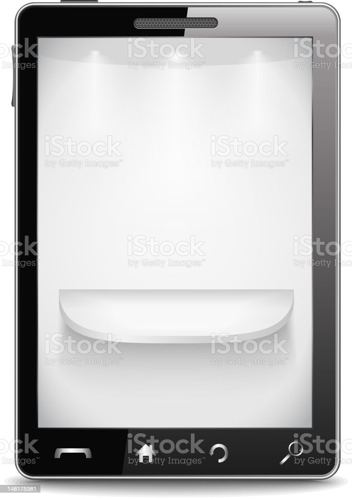 Mobile phone with shelf on the screen royalty-free stock vector art