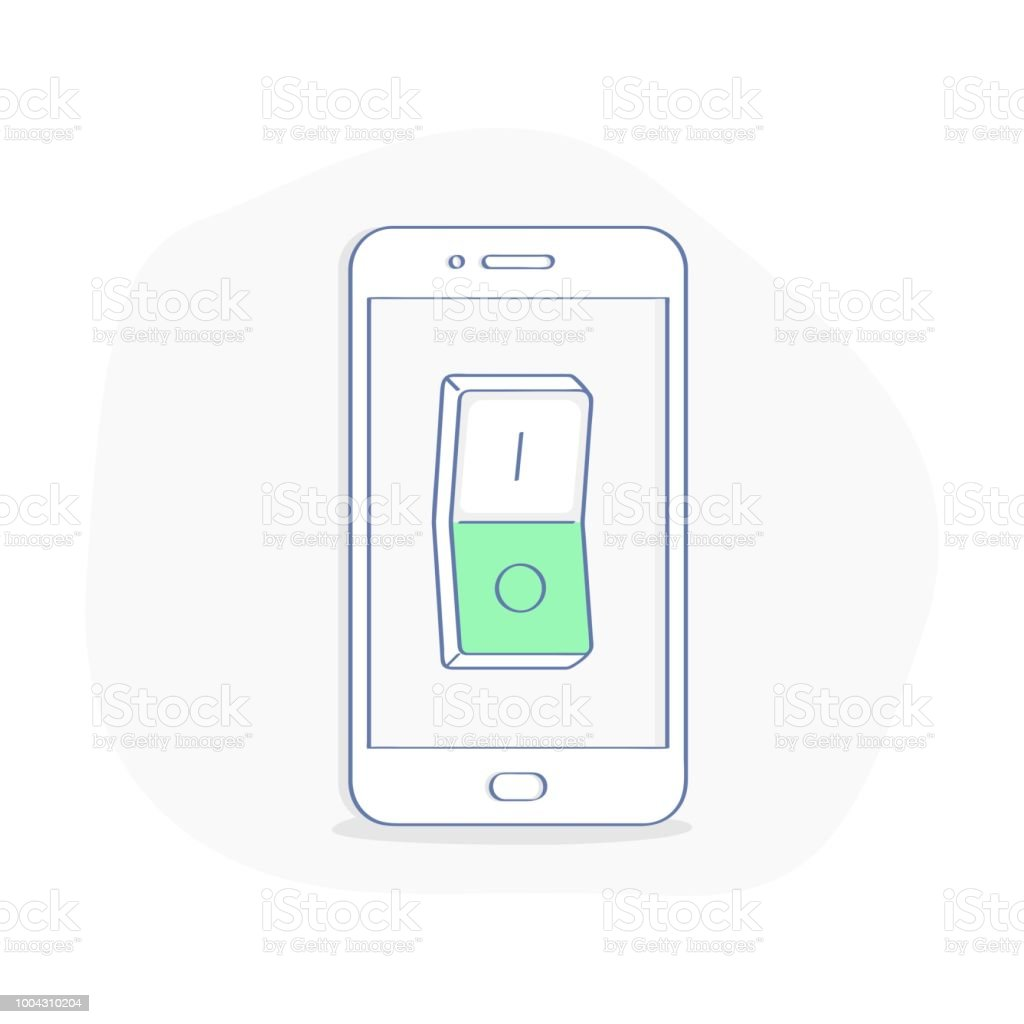 Mobile Phone With Switcher Selector Button Relay On Smartphone Power Display Vector Illustration Royalty