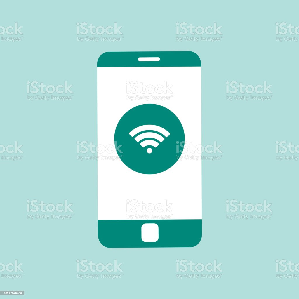 Mobile phone with wi-fi icon on screen royalty-free mobile phone with wifi icon on screen stock vector art & more images of blue