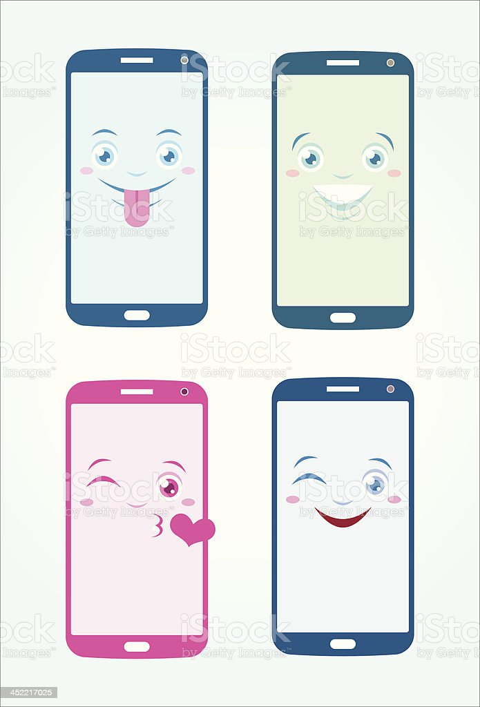Mobile phones happy emoticons vector art illustration