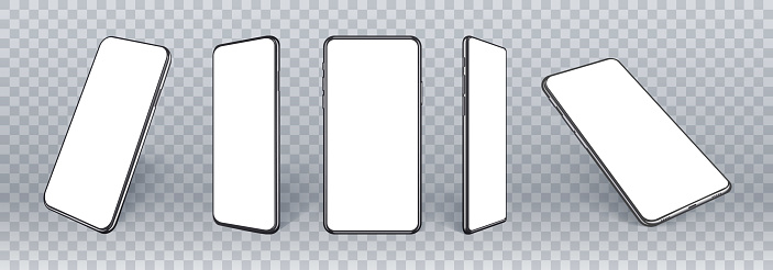Mobile phones mockup in different angles isolated, 3d perspective view cellular mockup with white empty screen isolated for showing ui ux app design or website. Realistic smartphone mockup.