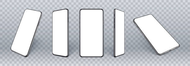 mobile phones mockup in different angles isolated, 3d perspective view cellular mockup with white empty screen isolated for showing ui ux app design or website. realistic smartphone mockup. - iphone stock illustrations