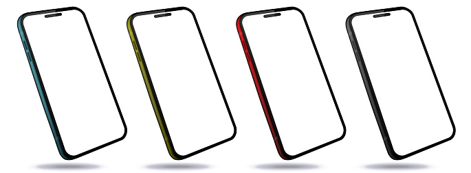 Mobile Phones With Perspective View. Colorful Smartphones Isolated on White Background.