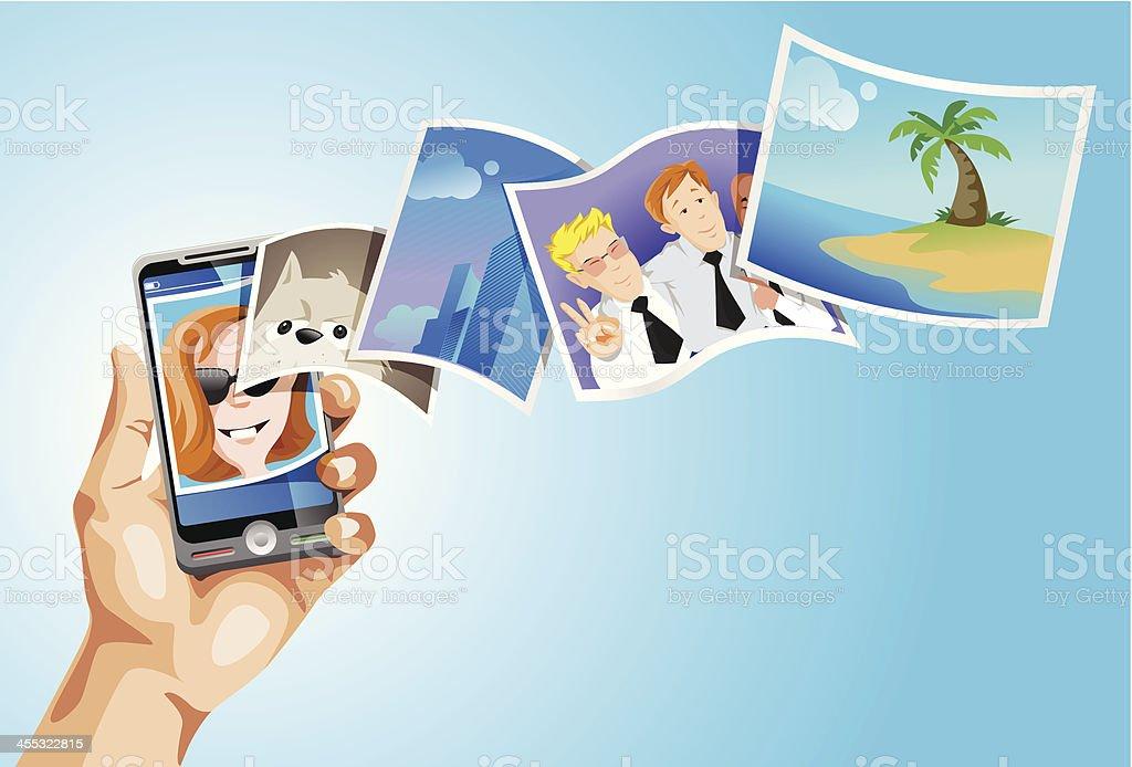 Mobile photo gallery vector art illustration