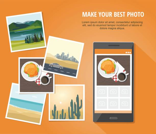 모바일 사진 개념입니다.   오렌지 배경 스마트폰 격리와 다른 사진입니다. - 사진 촬영 이미지 캡처 stock illustrations