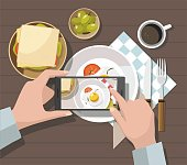 Mobile photography concept. Man taking photos of food on the smartphone. Vector Illustration
