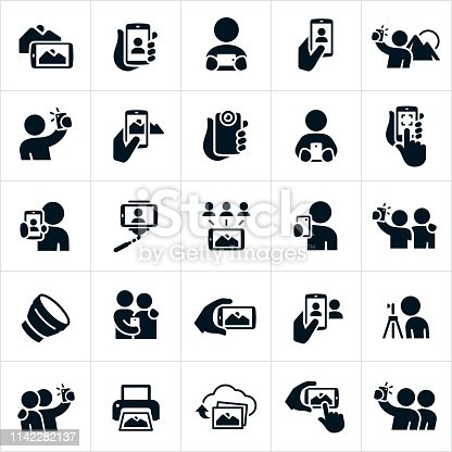 A set of mobile photography icons. The icons show several different people taking pictures with their mobile or smartphones. Some are taking selfies while others are taking pictures of scenery and landscapes. They also include lenses, photo sharing, printing pictures and uploading images to the cloud.