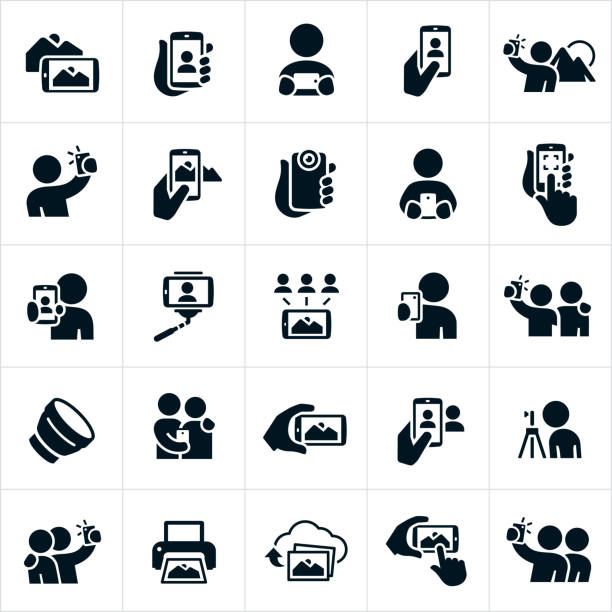 mobile photography icons - fotohandy stock-grafiken, -clipart, -cartoons und -symbole