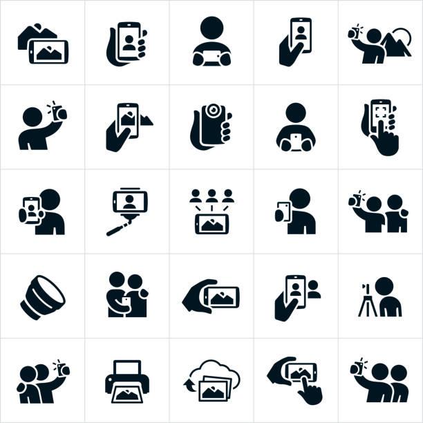 mobile photography icons - selfie stock-grafiken, -clipart, -cartoons und -symbole