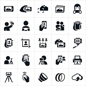 Icons related to mobile photography using a smartphone or other mobile device. The icons show several situations of individuals taking photos of landscapes, people and others (including selfies) using their mobile device. The icons also include some common gear and equipment associated with mobile photography.
