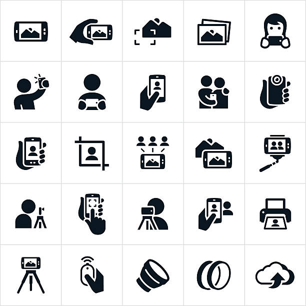 mobile fotografie symbole - selfie stock-grafiken, -clipart, -cartoons und -symbole