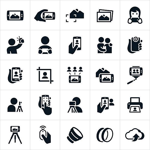 komórkowy fotografii ikony - fotografika stock illustrations