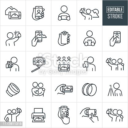 A set of mobile photography icons that include editable strokes or outlines using the EPS vector file. The icons include mobile phones taking photos, people using smartphones to take pictures, pictures on mobile phone screens, selfies, person taking picture of a landscape, selfie stick, photo sharing, camera lens, filters, tripod, printing of photos and other icons related to mobile photography.