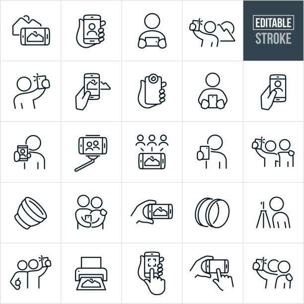 mobile fotografie dünne linie icons - editierbare strich - fotografische themen stock-grafiken, -clipart, -cartoons und -symbole