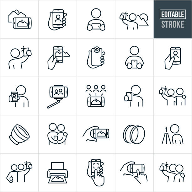 mobile photography thin line icons - editable stroke - tematy fotograficzne stock illustrations