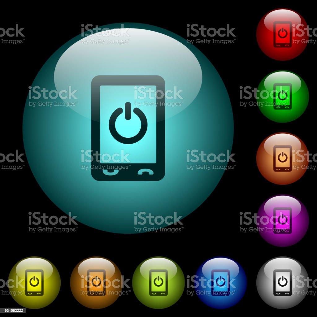 Mobile Stromversorgung Ausschalten Symbole In Farbe Glas ...