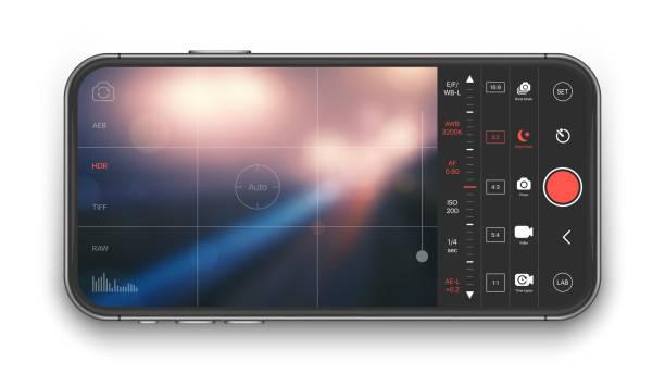 mobile professional camera vector ui concept - fotohandy stock-grafiken, -clipart, -cartoons und -symbole