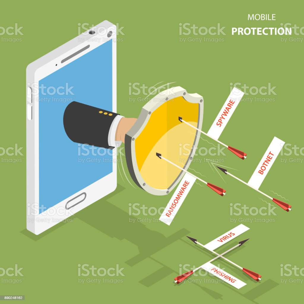 Mobile protection flat isometric vector concept. vector art illustration
