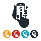 An icon symbolizing online purchasing using a mobile device. The icon shows a smartphone in hand with the other hand touching the screen to make an online purchase.