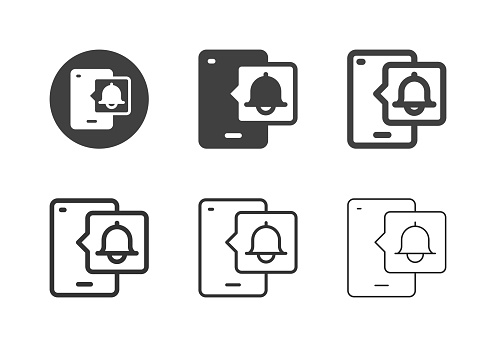 Mobile Push Notification Icons Multi Series Vector EPS File.