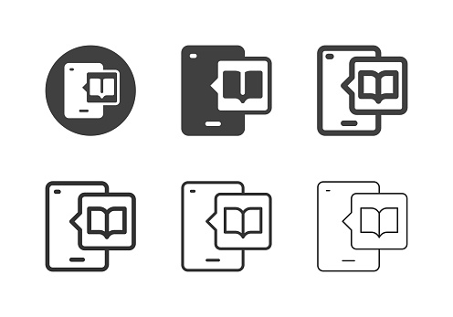 Mobile Reading Icons Multi Series Vector EPS File.