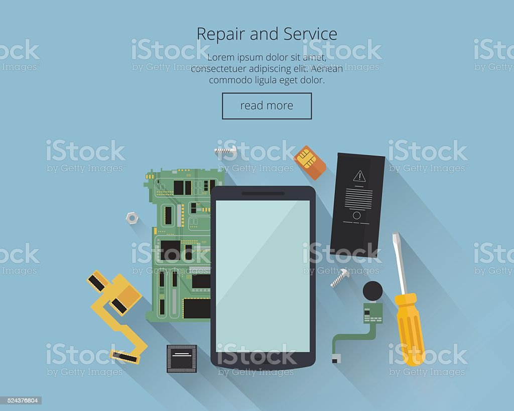 Mobile repair and service concept. Smarthone with tools, spare parts. vector art illustration