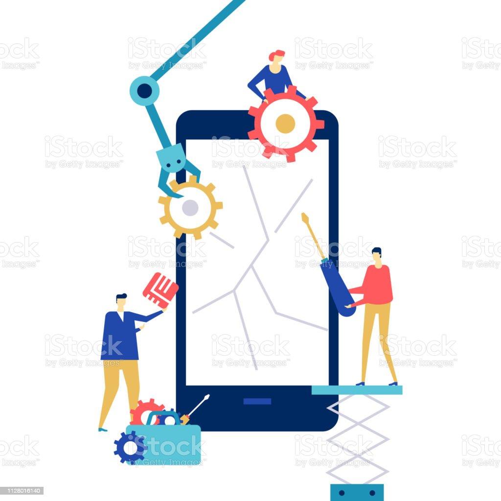 Service de réparation mobile - illustration colorée de style design plat - Illustration vectorielle