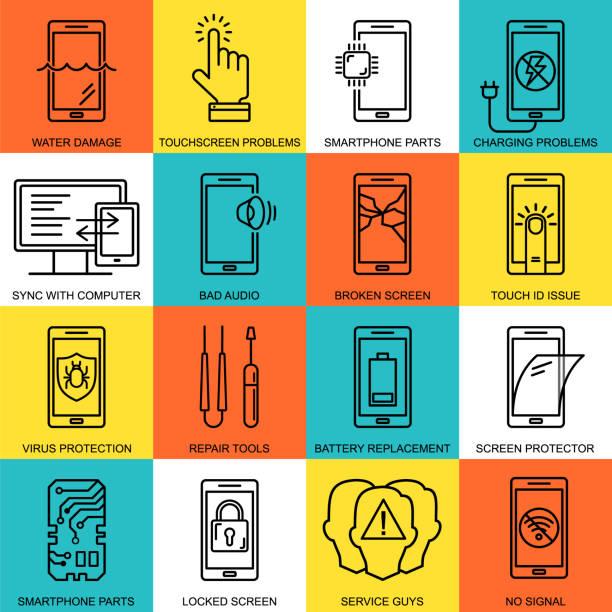 Mobile Reparatur Service Linie Stil Symbole gesetzt. Telefon-Fix-Muster. Smartphone häufig Probleme, Reparatur und Zubehör Logos. MobileR Service Thin Line Logound und Symbole. Elektronische Geräte, Technologie. – Vektorgrafik