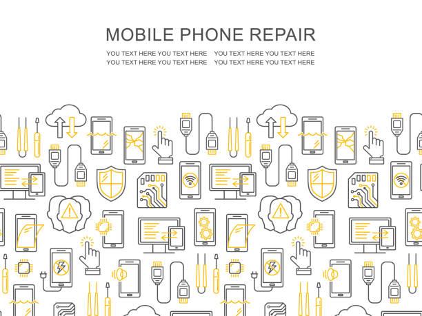 Mobile Rhe-Service, Telefon-Fix-Muster mit Platz für Text. Smartphone häufig Probleme, Reparatur, Zubehör Hintergrund. Mobiler Service Dünnlinien-Flyer. Elektronische Geräte, Technologie – Vektorgrafik