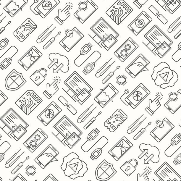 MobileR Reparaturservice, Telefon fix nahtloses Muster. Smartphone häufig Probleme, Reparatur und Zubehör Hintergrund. MobileR Service Thin Line Logound und Symbole. Elektronische Geräte, Technologie – Vektorgrafik