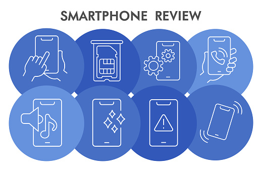 Mobile review infographic design template with icons. Smartphone components infographic visualization on white background. Cellphone characteristics template for presentation. Vector illustration.
