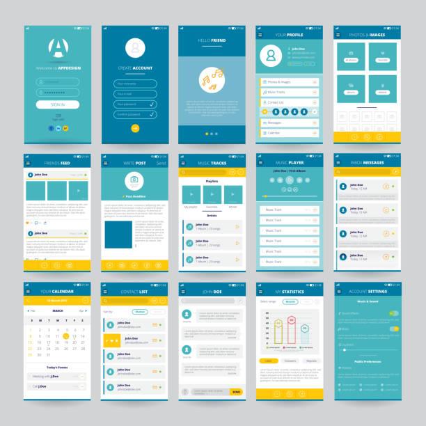 モバイル画面 ui ux gui テンプレートセット - 金融と経済点のイラスト素材/クリップアート素材/マンガ素材/アイコン素材