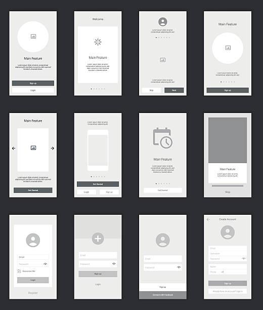 mobile leinwände benutzer interface kit. moderne benutzeroberfläche, ui ux - webdesigner grafiken stock-grafiken, -clipart, -cartoons und -symbole