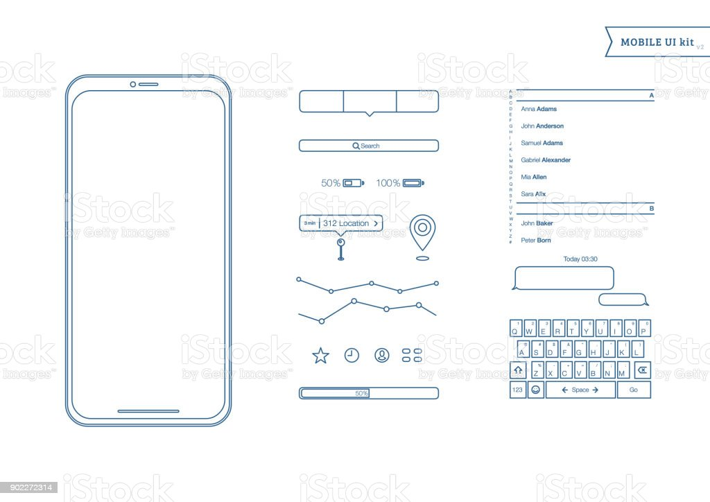 Mobile Leinwände User Interface Kit Schlichtes Design Ui Vorlage Für ...