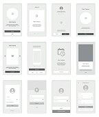 Mobile Screens wireframe User Interface Kit. Modern user interface UX