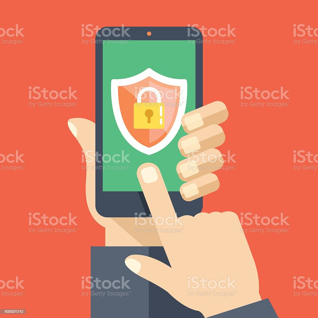 Mobile security app on smartphone screen. Flat design vector illustration vector art illustration