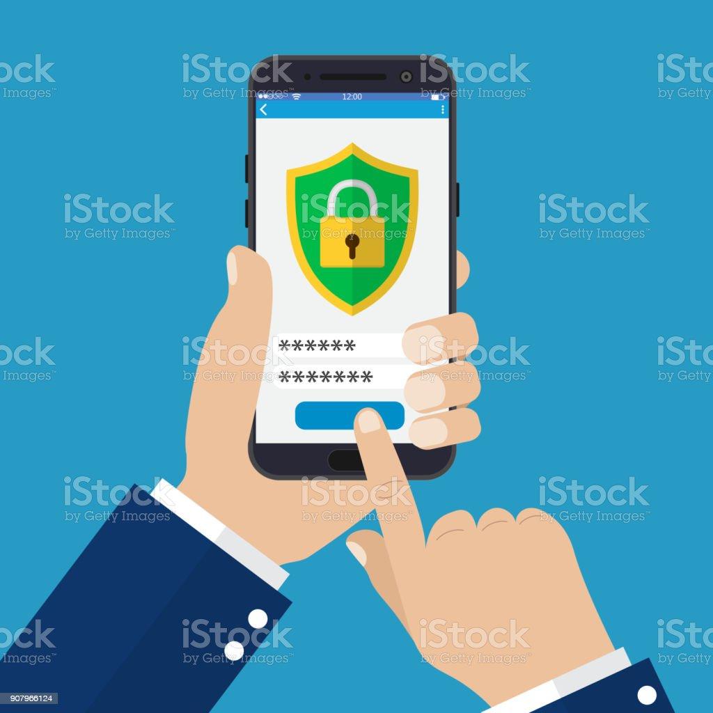 Mobile Security-app auf dem Smartphonebildschirm. – Vektorgrafik