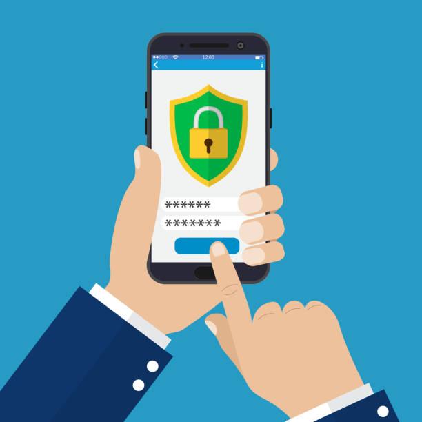 ilustraciones, imágenes clip art, dibujos animados e iconos de stock de aplicación de seguridad móvil en la pantalla del smartphone. - robo de identidad