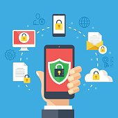 Mobile security, data protection concept. Hand holding smartphone, shield lock icon. Modern flat design graphic elements, thin line icons set. Vector illustration
