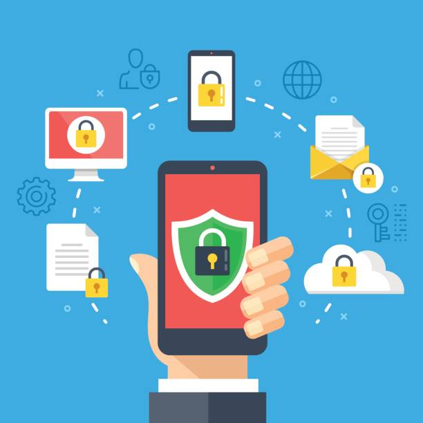 Mobile security, data protection concept. Hand holding smartphone, shield lock icon. Modern flat design graphic elements, thin line icons set. Vector illustration Mobile security, data protection concept. Hand holding smartphone, shield lock icon. Modern flat design graphic elements, thin line icons set for web banner, website, infographics. Vector illustration security stock illustrations
