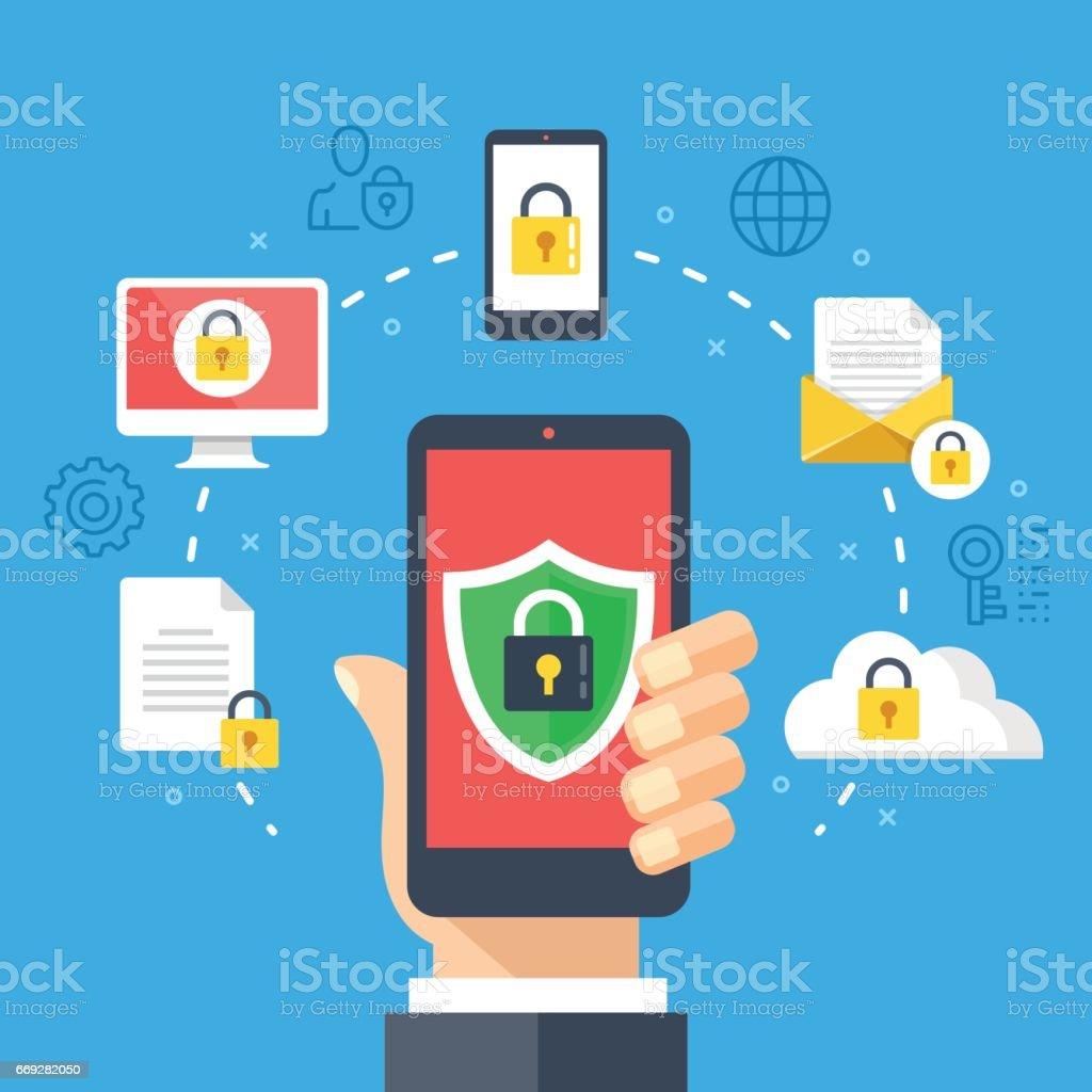 Segurança móvel, conceito de proteção de dados. Mão segurando o smartphone, o ícone de cadeado do escudo. Elementos gráficos de plano de design moderno, conjunto de ícones de linha fina. Ilustração vetorial - ilustração de arte em vetor