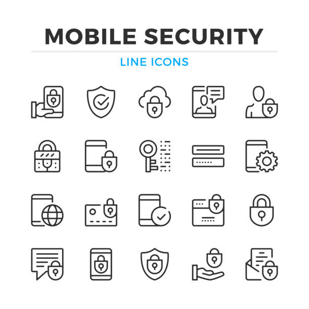 Mobile security line icons set. Modern outline elements, graphic design concepts. Stroke, linear style. Simple symbols collection. Vector line icons Mobile security line icons set. Modern outline elements, graphic design concepts. Stroke, linear style. Simple symbols collection. Vector line icons confidential stock illustrations