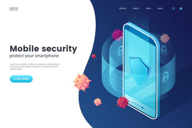 Mobile security vector illustration. Protective smartphone and shield. Internet security. Cyber attack on smartphone. Isometric style. Antivirus application. Mobile security vector illustration. Protective smartphone and shield. Internet security. Cyber attack on smartphone. Isometric style. Antivirus application. antivirus software stock illustrations